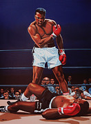 Basket Ball Painting Framed Prints - Mohammed Ali versus Sonny Liston Framed Print by Paul  Meijering