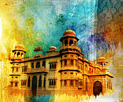 Red Buildings Framed Prints - Mohatta Palace Framed Print by Catf