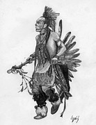 Native Americans Drawings Posters - Mohawk Dancer Poster by Lew Davis