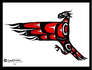 Pole Drawings Metal Prints - Mohawk Eagle Red Metal Print by Speakthunder Berry