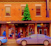 The Main Montreal Paintings - Moishes On The Main At Christmas Time Montreal Restaurant Winter City Scene Art Carole Spandau by Carole Spandau