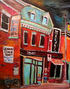 St. Lawrence Blvd. Paintings - Moishes on the Main by Michael Litvack