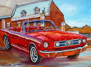 Ford Mustang Painting Framed Prints - Moishes Steakhouse Boulevard Saint Laurent Montreal Framed Print by Carole Spandau