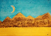 Watercolor Southwest Landscape Paintings - Mojave Moonrise original painting by Sol Luckman