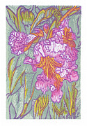 Japanese Woodblock Reliefs Posters - Mojave Willow Poster by Maria Arango