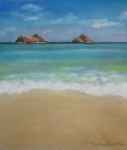 Rabbit Pastels Posters - Mokulua Islands off of Lanikai  Poster by Jan Fontecchio