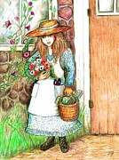 Straw Hat Mixed Media Posters - Molly Working In Her Garden Poster by Barbara LeMaster