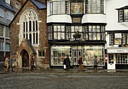 Chape Framed Prints - Mols coffee house from 1596 Cathedral Close Exeter UK 1980s Framed Print by David Davies