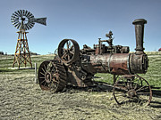 Okanogan Digital Art Framed Prints - MOLSON WASHINGTON GHOST TOWN STEAM TRACTOR and WIND MILL Framed Print by Daniel Hagerman