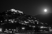 Boat Photos - Molyvos under full moon by George Atsametakis