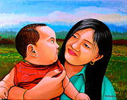 Embrace Paintings - Mom and Babe by Cyril Maza