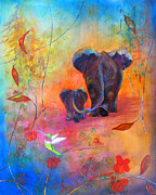 Shower Gift Paintings - Mom and Baby Elephant by Sally Simmons