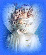 Angel Blues Prints - Mom and Child Are Christmas  Angels and always Print by Sherri  Of Palm Springs