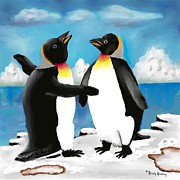 Two By Two Digital Art Posters - Mom and Dad Penguins Poster by Dessie Durham