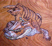 Reptiles Pyrography Prints - Mom Gator and Babies  Print by Jeanie Beline