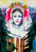 Watercolor Portrait Posters - Moma Poster by Lyubomir Kanelov
