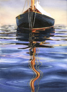 Mooring Painting Posters - Moment of Reflection VI Poster by Marguerite Chadwick-Juner