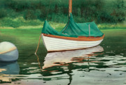 Mooring Painting Posters - Moment of Reflection X Poster by Marguerite Chadwick-Juner