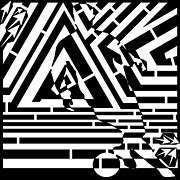 Distortion Drawings Prints - Moments Before the Goal Maze  Print by Yonatan Frimer Maze Artist
