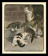 Archives Painting Prints - Momma Cat with her three kittens. 1903. Print by Elizabeth Bonsall and  Pierpont Bay Archives