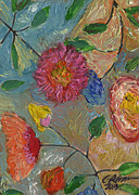Colored Pencils Painting Originals - Mommas Quilt of Flowers. 2013 by Cathy Peterson