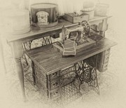 Arnie Goldstein Prints - Mommas Sewing Machine Print by Arnie Goldstein