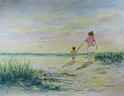 Women Together Prints - Mommy and Me at the Beach Print by Janis Lee Colon