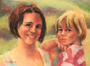 Italian Landscapes Drawings Prints - Mommy and Me Print by Marilyn Weisberg