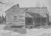 Old House Drawings - Moms Home Place by Lew Davis