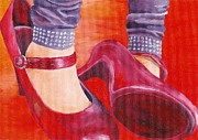 Stilettos Paintings - Moms Shoes by Hannah Circenis