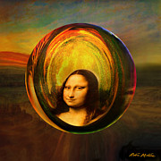 Old Digital Art Prints - Mona Lisa Circondata Print by Robin Moline