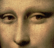 Smile Painting Framed Prints - Mona Lisa    detail Framed Print by Leonardo Da Vinci