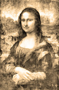 Paris Drawings Posters - Mona Lisa Poster by George Rossidis