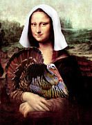 Masterpiece Mixed Media Prints - Mona Lisa Thanksgiving Pilgrim Print by Gravityx Designs