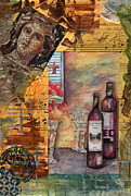 French Wine Bottles Mixed Media Posters - Mona Poster by Tamyra Crossley