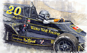Watercolor Art Paintings - Monaco 1976 Wolf Wiliams FW05 Jacki Ickx by Yuriy Shevchuk