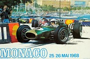 City Streets Framed Prints - Monaco F1 Grand Prix 1968 Framed Print by Nomad Art And  Design