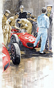 Watercolor  Paintings - Monaco GP 1961 Ferrari 156 Sharknose Richie Ginther by Yuriy Shevchuk
