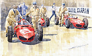 Watercolour Prints - Monaco GP 1961 Ferrari 156 Sharknose  Print by Yuriy  Shevchuk