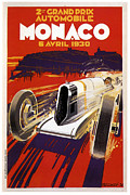 City Streets Framed Prints - Monaco Grand Prix 1930 Framed Print by Nomad Art And  Design