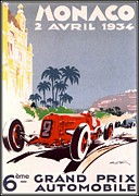 Bugatti  Digital Art Framed Prints - Monaco Grand Prix 1934 Framed Print by Nomad Art And  Design