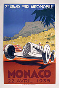 Bugatti  Digital Art Framed Prints - Monaco Grand Prix 1935 Framed Print by Nomad Art And  Design