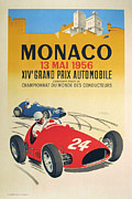 City Streets Digital Art Prints - Monaco Grand Prix 1956 Print by Nomad Art And  Design