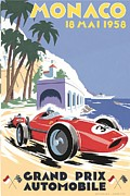 City Streets Digital Art Prints - Monaco Grand Prix 1958 Print by Nomad Art And  Design