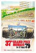 City Streets Digital Art Prints - Monaco Grand Prix 1979 Print by Nomad Art And  Design