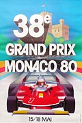City Streets Digital Art Prints - Monaco Grand Prix 1980 Print by Nomad Art And  Design