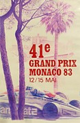 City Streets Digital Art Prints - Monaco Grand Prix 1983 Print by Nomad Art And  Design