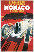 Driver Drawings - Monaco Grand Prix Vintage Poster by World Art Prints And Designs