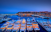 Black Photographs Prints - Monaco Lights at Night Print by Sanely Great