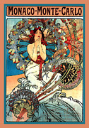 Grapes Art Deco Digital Art Posters - Monaco Monte Carlo Poster by Alphonse Maria Mucha